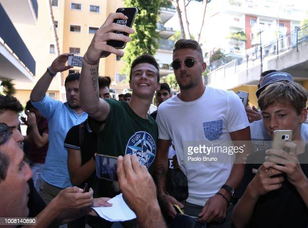 Sergej Milinkovic of SS Lazio with fans before the SS Lazio medical tests on July 31 2018 in Rome Italy