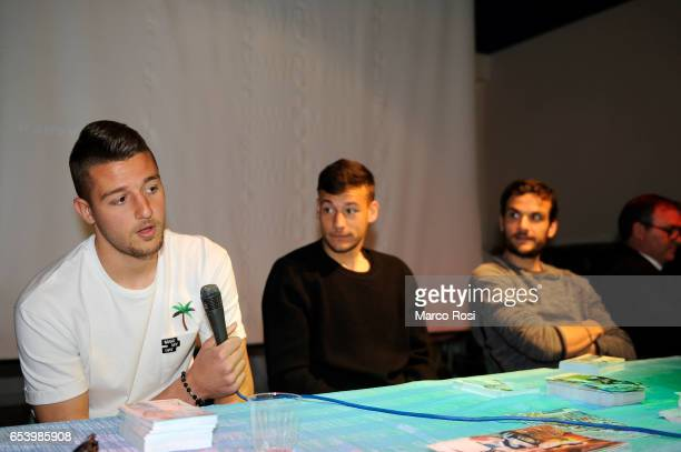 Sergej Milinkovic Savic Alessandro Murgia and Marco Parolo SS Lazio meets school students with his teammates at the school San Sisto in Rome on March...