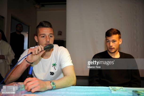 Sergej Milinkovic Savic and Alessandro Murgia SS Lazio meets school students with his teammates at the school San Sisto in Rome on March 16 2017 in...