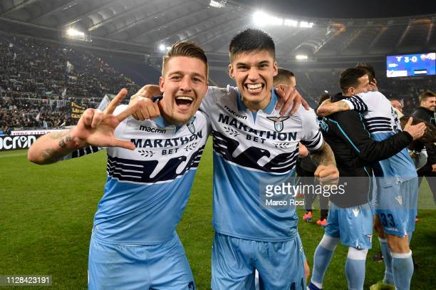 Sergej Milinkovic Savic and Joaquin Correa of SS Lazio celebrate a winner game after the Serie A match between SS Lazio and AS Roma at Stadio...