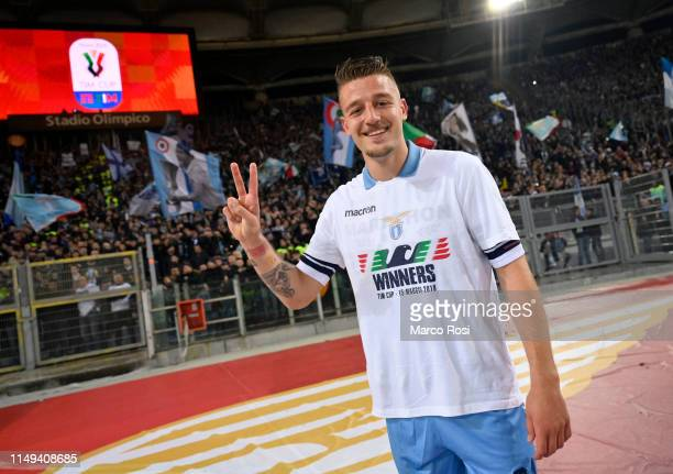 Sergej Milinkovic Savic celebrates victory after the TIM Cup Final match between Atalanta BC and SS Lazio at Stadio Olimpico on May 15 2019 in Rome...
