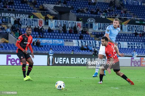Sergej Milinkovic Savic of Lazio seen in action during the UEFA Europa League match between SS Lazio and Stade Rennais FC at Olimpico Stadium