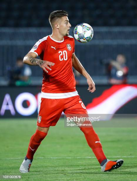 Sergej Milinkovic Savic of Serbia in action during the UEFA Nations League C group four match between Serbia and Romania at stadium Partizan on...