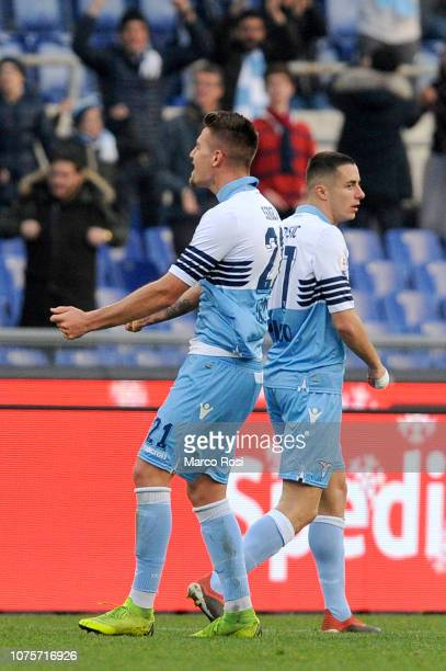 Sergej Milinkovic Savic of SS Lazio celebrate a frist goal with his team mates during the Serie A match between SS Lazio and Torino FC at Stadio...