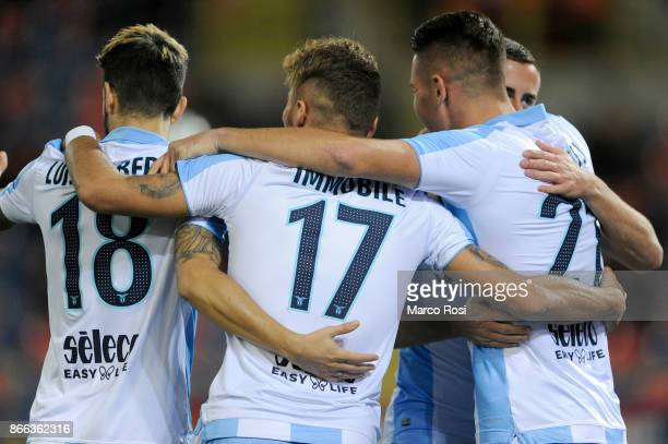 Sergej Milinkovic Savic of SS Lazio celebrate a opening goal during the Serie A match between Bologna FC and SS Lazio at Stadio Renato Dall'Ara on...