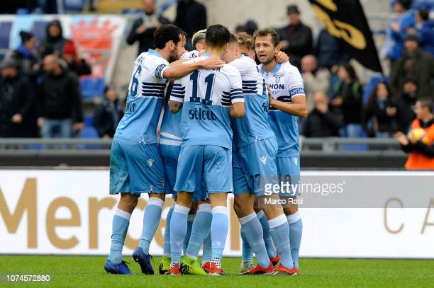 Sergej Milinkovic Savic of SS Lazio celebrate a opening goal with his team mates during the Serie A match between SS Lazio and Cagliari at Stadio...
