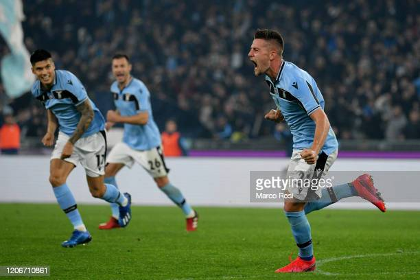 Sergej Milinkovic Savic of SS Lazio celebrate a second goal with his team mates during the Serie A match between SS Lazio and FC Internazionale at...