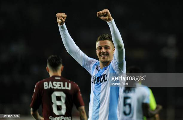 Sergej Milinkovic Savic of SS Lazio celebrate winning during the serie A match between Torino FC and SS Lazio at Stadio Olimpico di Torino on April...