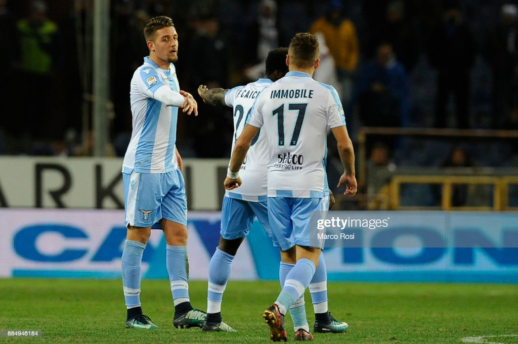 Sergej Milinkovic Savic of SS lazio celebrates a frist goal during the Serie A match between UC Sampdoria and SS Lazio at Stadio Luigi Ferraris on December 3, 2017 in Genoa, Italy.