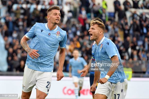 Sergej Milinkovic Savic of SS Lazio celebrates a second goal with his team mates during the Serie A match between SS Lazio and US Lecce at Stadio...