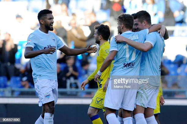 Sergej Milinkovic Savic of SS Lazio celebrates a second goal with his team mates during the Serie A match between SS Lazio and AC Chievo Verona at...