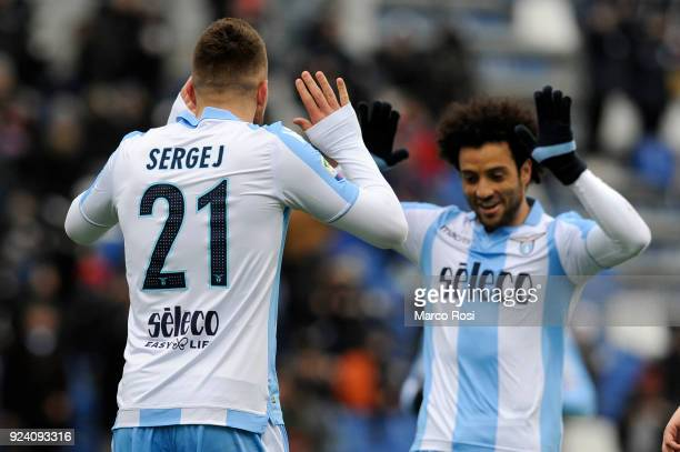 Sergej Milinkovic Savic of SS Lazio celebrates a third goal with his team mates during the serie A match between US Sassuolo and SS Lazio at Mapei...