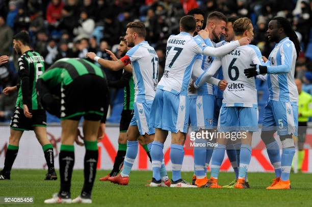 Sergej Milinkovic Savic of SS Lazio celebrates an opening goal with his team mates during the serie A match between US Sassuolo and SS Lazio at Mapei...
