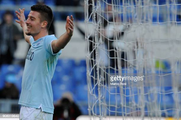 Sergej Milinkovic Savic of SS Lazio celebrates scoring the third goal during the Serie A match between SS Lazio and AC Chievo Verona at Stadio...