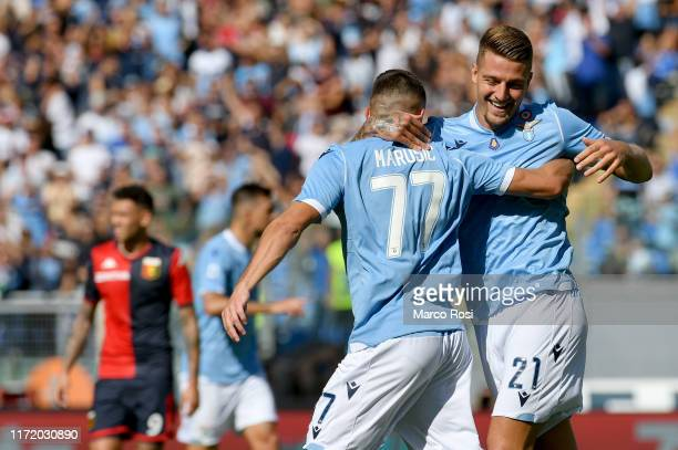 Sergej Milinkovic Savic of SS Lazio celebrates the opening goal with his team mates during the Serie A match between SS Lazio and Genoa CFC at Stadio...