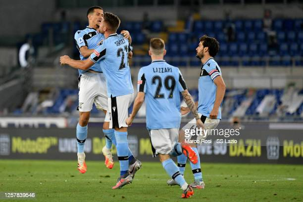 Sergej Milinkovic Savic of SS Lazio celebrates their first goal with his teammates during the Serie A match between SS Lazio and Cagliari Calcio at...