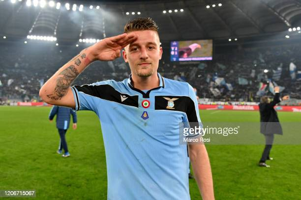 Sergej Milinkovic Savic of SS Lazio celebrates winning after the Serie A match between SS Lazio and FC Internazionale at Stadio Olimpico on February...