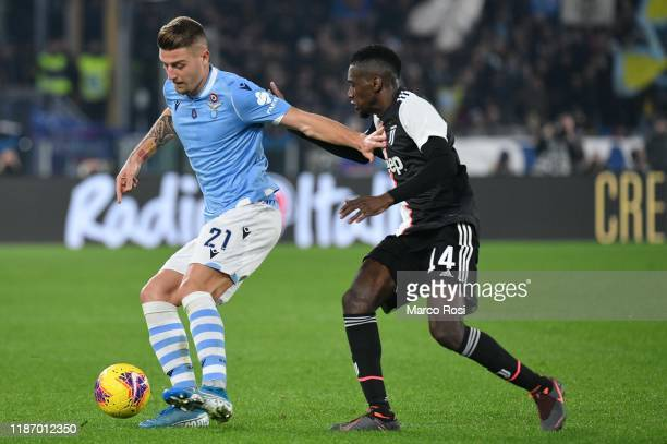 Sergej Milinkovic Savic of SS Lazio compete for the ball with Blaise matuidi of Juventus during the Serie A match between SS Lazio and Juventus at...