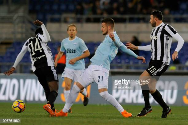 Sergej Milinkovic Savic of SS Lazio compete for the ball with Blasie Matuidi of Juventus during the serie A match between SS Lazio and Juventus at...