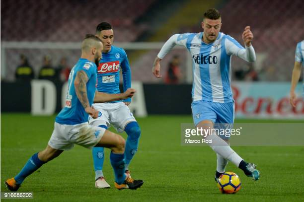 Sergej Milinkovic Savic of SS Lazio compete for the ball with Jose' Callejon of SSC Napoli during the serie A match between SSC Napoli and SS Lazio...
