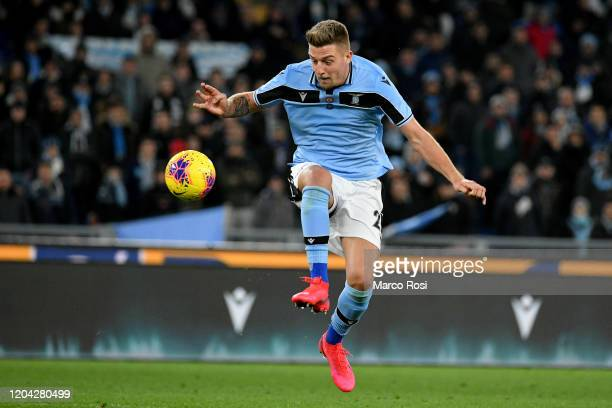 Sergej Milinkovic Savic of SS Lazio controls the ball during the Serie A match between SS Lazio and Hellas Verona at Stadio Olimpico on February 05...