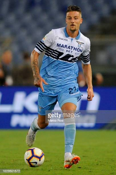 Sergej Milinkovic Savic of SS Lazio during the serie A match between SS Lazio and SSC Napoli at Stadio Olimpico on August 18 2018 in Rome Italy
