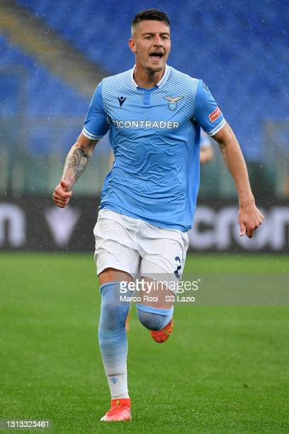 Sergej Milinkovic Savic of SS Lazio during the Serie A match between SS Lazio and Benevento Calcio at Stadio Olimpico on April 18, 2021 in Rome,...