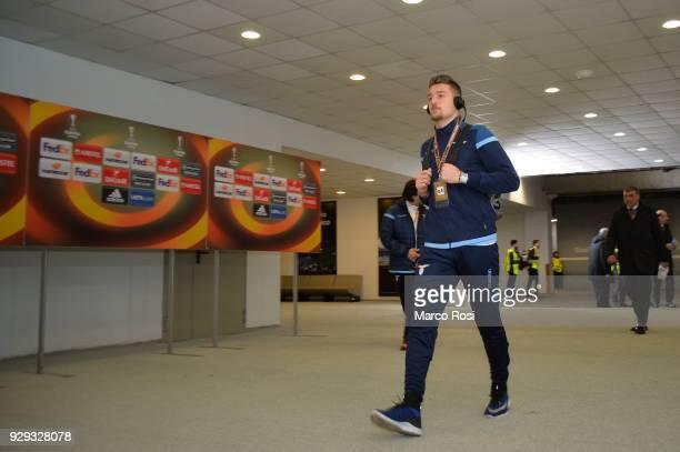 Sergej Milinkovic Savic of SS Lazio enter to the stadium before the UEFA Europa League Round of 16 match between Lazio and Dynamo Kiev at the Stadio...