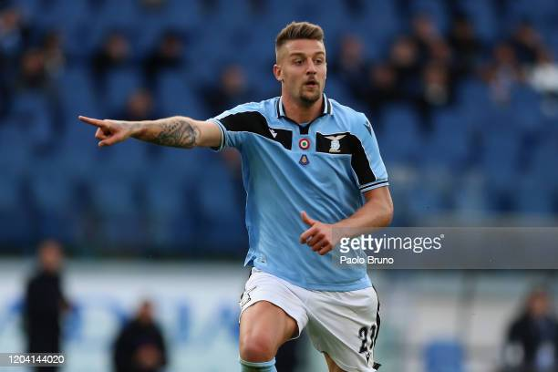 Sergej Milinkovic Savic of SS Lazio gestures during the Serie A match between SS Lazio and Bologna FC at Stadio Olimpico on February 29, 2020 in...