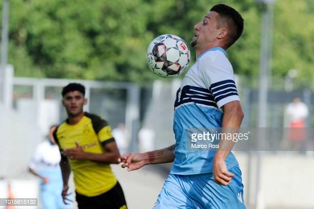 Sergej Milinkovic Savic of SS Lazio in actin during the Borussia Dortmund v Lazio PreSeason Friendly at the Essen Stadium on August 12 2018 in Essen...