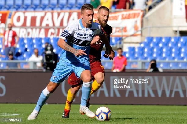Sergej Milinkovic Savic of SS Lazio in action during the Serie A match between AS Roma and SS Lazio at Stadio Olimpico on September 29, 2018 in Rome,...
