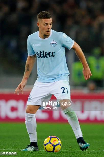 Sergej Milinkovic Savic of SS Lazio in action during the Serie A match between AS Roma and SS Lazio at Stadio Olimpico on November 18 2017 in Rome...