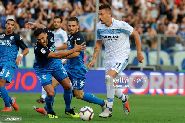 Sergej Milinkovic Savic of SS Lazio in action during the serie A match between Empoli and SS Lazio at Stadio Carlo Castellani on September 16 2018 in...