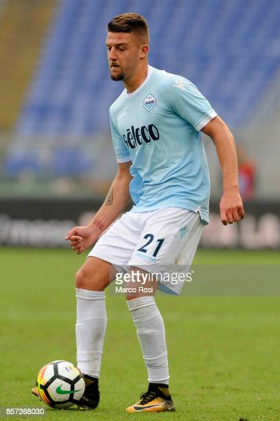 Sergej Milinkovic Savic of SS Lazio in action during the Serie A match between SS Lazio and US Sassuolo at Stadio Olimpico on October 1 2017 in Rome...