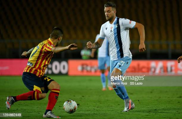 Sergej Milinkovic Savic of SS Lazio in action during the Serie A match between US Lecce and SS Lazio at Stadio Via del Mare on July 07 2020 in Lecce...