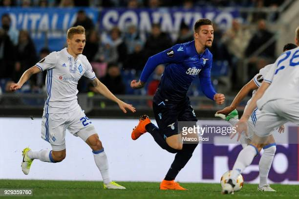Sergej Milinkovic Savic of SS Lazio in action during UEFA Europa League Round of 16 match between Lazio and Dynamo Kiev at the Stadio Olimpico on...