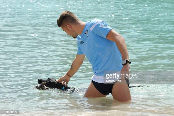 Sergej Milinkovic Savic of SS Lazio in relax after the SS Lazio Training Camp Day 4 on July 12 2017 in Pieve di Cadore Italy