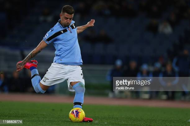 Sergej Milinkovic Savic of SS Lazio kicks the ball during the Serie A match between SS Lazio and Hellas Verona at Stadio Olimpico on February 5 2020...