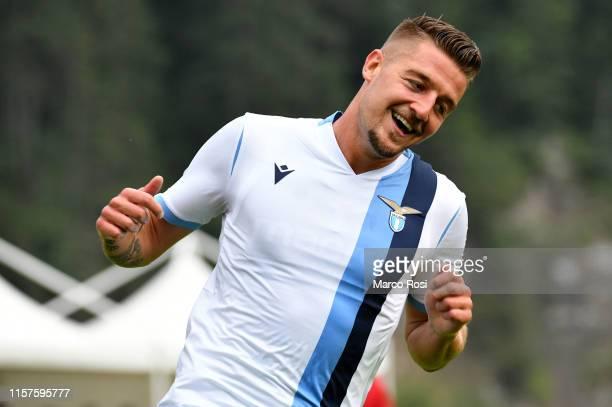 Sergej Milinkovic Savic of SS Lazio reacts during the preseason friendly match between SS Lazio v Virtus Entella on July 24 2019 in Auronzo di Cadore...