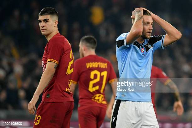 Sergej Milinkovic Savic of SS Lazio reacts during the Serie A match between AS Roma and SS Lazio at Stadio Olimpico on January 26, 2020 in Rome,...