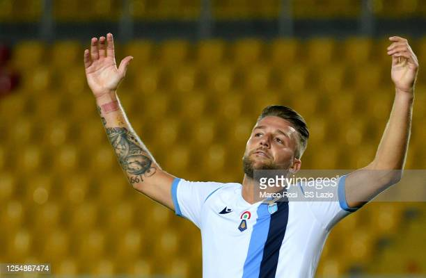 Sergej Milinkovic Savic of SS Lazio reacts during the Serie A match between US Lecce and SS Lazio at Stadio Via del Mare on July 07 2020 in Lecce...