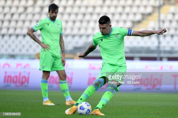 Sergej Milinkovic Savic of SS Lazio scores a second goal during the Serie A match between Torino FC and SS Lazio at Stadio Olimpico di Torino on...