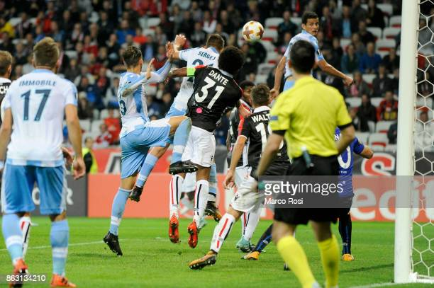 Sergej MIlinkovic Savic of SS Lazio scores a third gola during the UEFA Europa League group K match between OGC Nice and Lazio at Allianz Riviera...