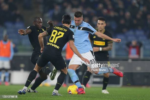 Sergej Milinkovic Savic of SS Lazio scores the team's second goal during the Serie A match between SS Lazio and FC Internazionale at Stadio Olimpico...