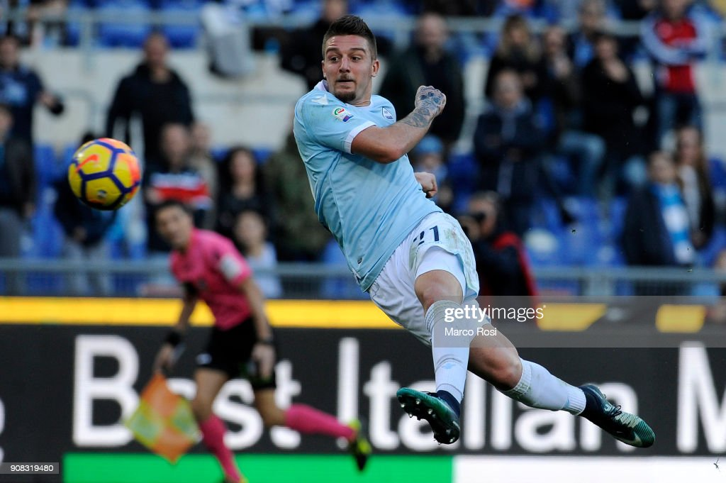 Sergej Milinkovic Savic of SS Lazio scores the third goal during the Serie A match between SS Lazio and AC Chievo Verona at Stadio Olimpico on January 21, 2018 in Rome, Italy.