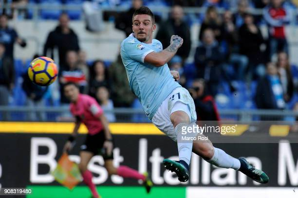 Sergej Milinkovic Savic of SS Lazio scores the third goal during the Serie A match between SS Lazio and AC Chievo Verona at Stadio Olimpico on...