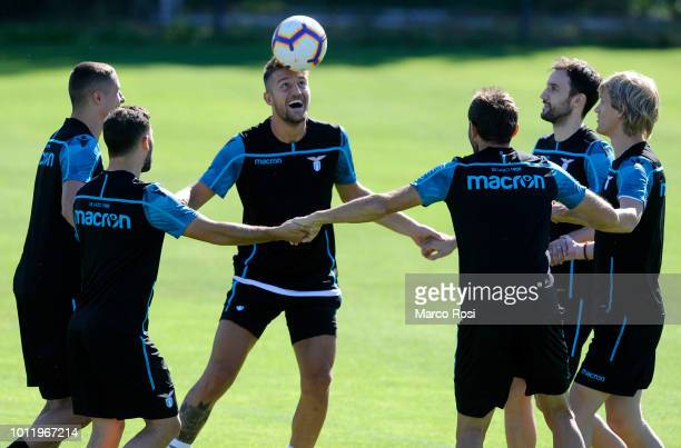 Sergej Milinkovic Savic of SS Lazio with his team mate during the SS Lazio training session on August 6 2018 in Marienfeld Germany