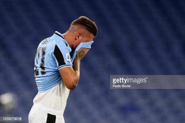 Sergej Milinkovic Savic reacts during the Serie A match between SS Lazio and ACF Fiorentina at Stadio Olimpico on June 27 2020 in Rome Italy