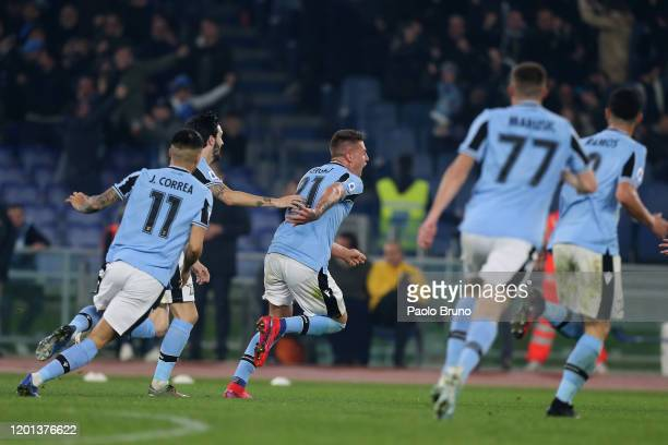 Sergej Milinkovic Savic with his teammates of SS Lazio celebrates after scoring the team's second goal during the Serie A match between SS Lazio and...