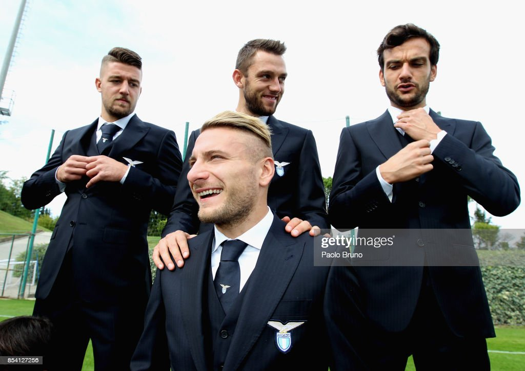 Sergej Milinkovic, Stefan De Vrji, Marco Parolo, Ciro Immobile of SS Lazio react during the official team photo on September 26, 2017 in Rome, Italy.